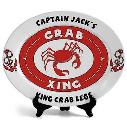 Personalized Oval Crab with Anchors Platter