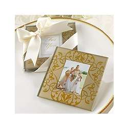 Golden Brocade Photo Coasters Wedding Favor