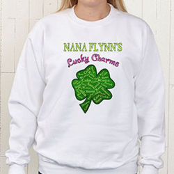 Personalized Grandma's Lucky Charms Four Leaf Clover Sweatshirt