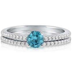 Aquamarine Cubic Zirconia Sterling Silver Bridal Ring Set