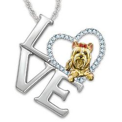 Love is a Yorkie Swarovski Crystal Pendant Necklace