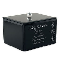 Black Glass Keepsake Box for Graduates