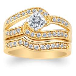 14K Gold Plated Cubic Zirconia Swirl Wedding Ring Set