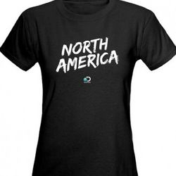 North America Logo Women's Black Fitted T-Shirt