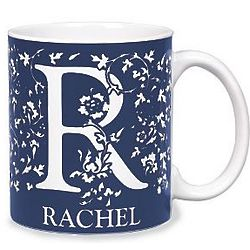 Small Personalized Blue Initial Mug