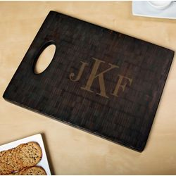 Classic Monogram Black Bamboo Custom Cutting Board