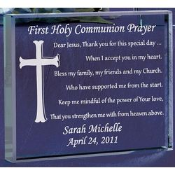 Personalized Communion Prayer Glass Block Plaque