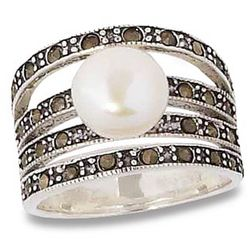Nouveau Pearl and Marcasite Large Ring