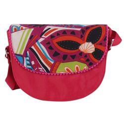 Geometric Flower Cotton Blend Shoulder Bag