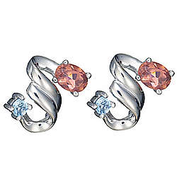 Pink Tourmaline & Aquamarine Earrings in 14K Gold