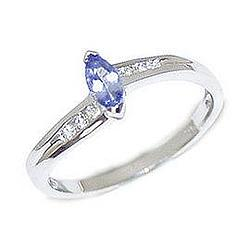 Marquise White Gold and Tanzanite and Diamond Slender Wave Ring