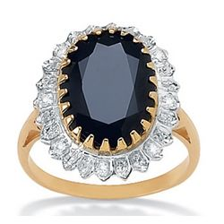 Gold over Silver Midnight Blue Sapphire Women's Ring