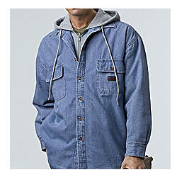 Fleece Lined Denim Hooded Sweatshirt