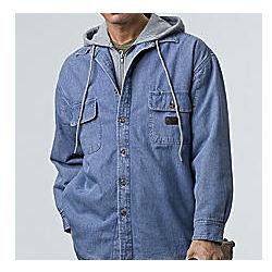 Fleece Lined Denim Hooded Sweatshirt