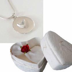 High Polish Silver Melting Heart in Heart Shaped Box