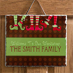Santa's Workshop Personalized Christmas Slate Plaque