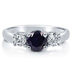 Round Sapphire Cubic Zirconia Sterling Silver Stone Ring