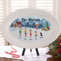 Christmas Family Characters Personalized Platter