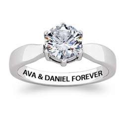 Stainless Steel Carat Cubic Zirconia Solitaire Engraved Ring