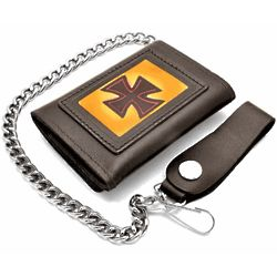 Iron Cross Trifold Wallet with Chain
