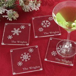 Holiday Snowflake Personalized Glass Coaster Set
