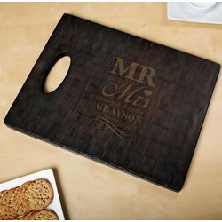Black Bamboo Wedding Day Personalized Cutting Board