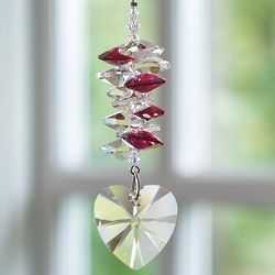 Ruby Crystal Heart Cascade Suncatcher