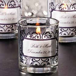Black and White Personalized Votive Candleholders