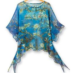 Hand Painted Silk Almond Blossoms Tunic