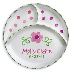 Baby's Personalized Divided Plate with Hand-Painted Flowers