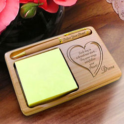 Personalized Follow Your Heart Wooden Notepad and Pen Holder
