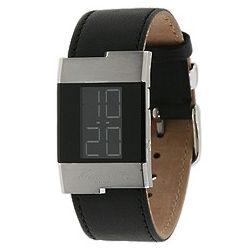 Black Leather Digital Watch