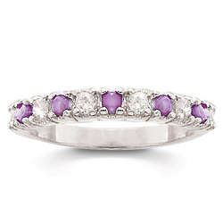 Sterling Silver Amethyst and White Topaz Pure Bliss Band