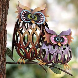 Prismatic Owl Pair Iron Garden Sculpture