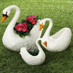Swan Planters Set