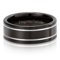 2-Tone Black with White Row Polished Comfort Fit Tungsten Ring