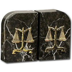 Legal Marble Bookends with Gold Scales