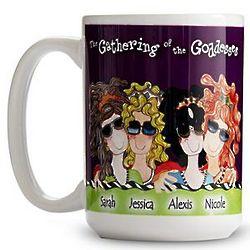 Large Personalized Gathering of Four Goddesses Mug