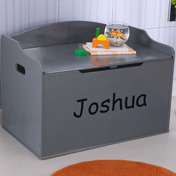 Personalized Kid's Gray Toy Box