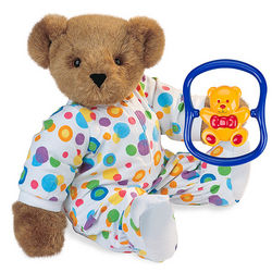 Pajama Teddy Bear with Bear Rattle