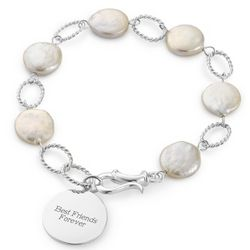 Engraved Sterling Freshwater Coin Pearl Bracelet