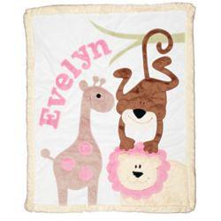 Baby Girl's Personalized Safari Animals Blanket