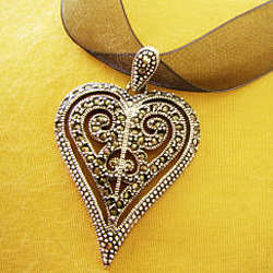 Marcasite and Sterling Silver Heart Choker