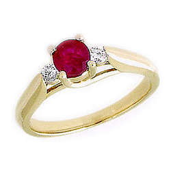 14K Gold Three Stone Ruby and Diamond Ring