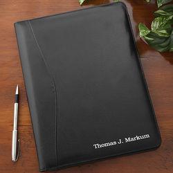 Executive Black Leather Personalized Portfolio