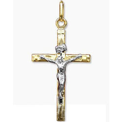 14K Yellow and White Gold Crucifix