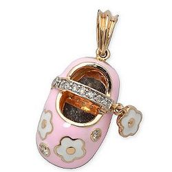 Pink Enamel and Diamond Baby Shoe Pendant in 14kt Yellow Gold