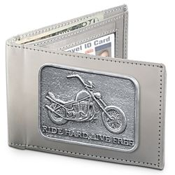 Ride Hard, Live Free Stainless Steel Men's Wallet