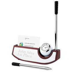 Personalized Golf Club Clock and Pen Set