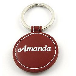 Personalized Red Leather Keychain